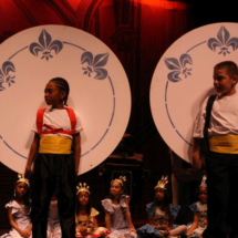 Children's theater acting as plates