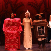 Children's theater acting as wardrobe and clock