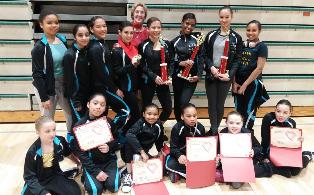 Teens and Juniors pose after receiving awards at dance competition