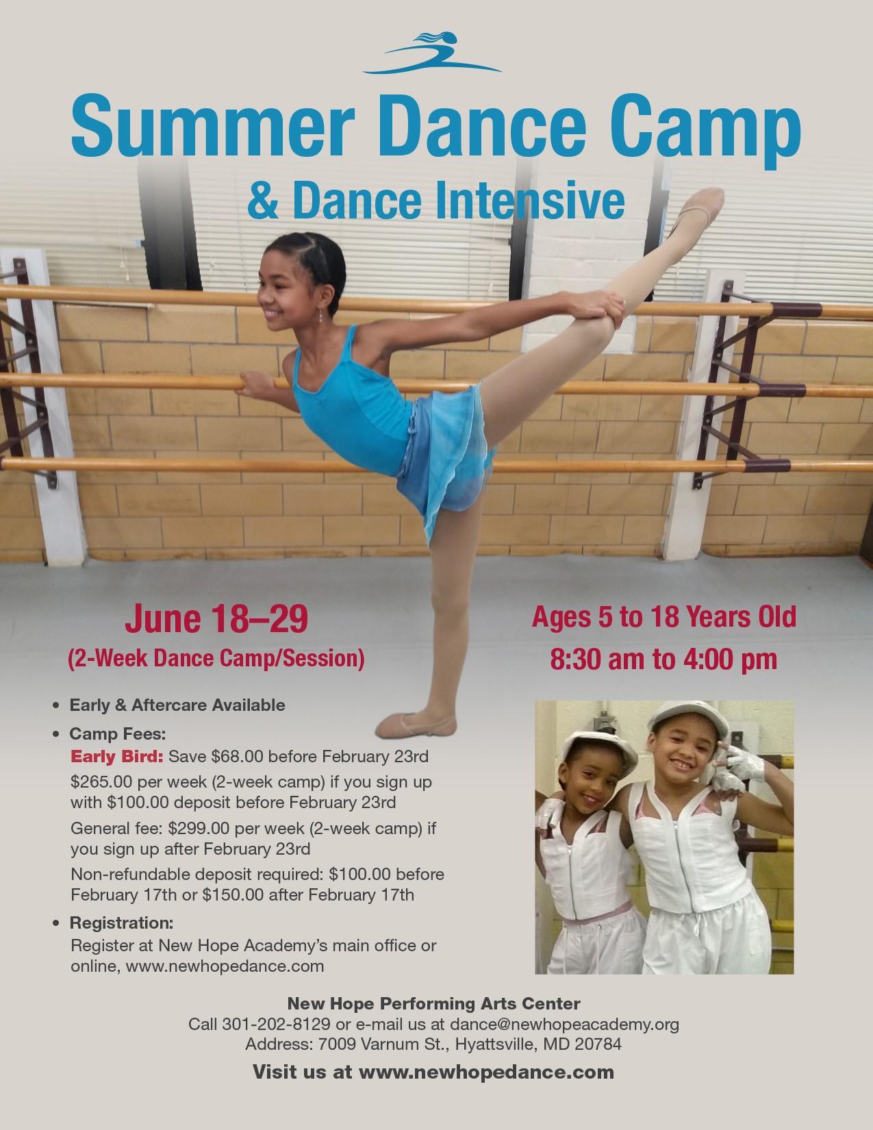 Summer Dance Camp and Dance Intensive, June 18 - 19 , 2018
